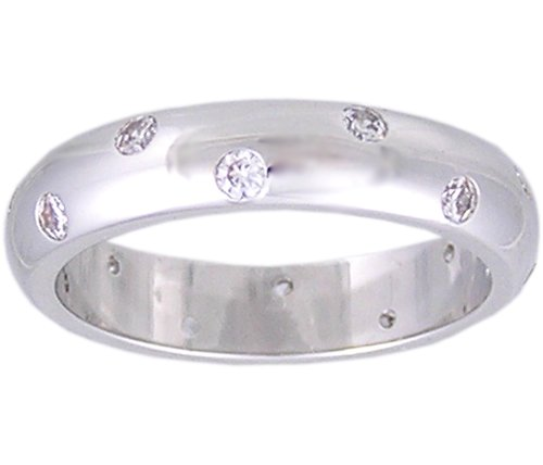 CUBIC ZIRCONIA CZ BAND ETERNITY RING SIZE 5 6 7 8 9 or 10