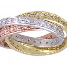 CUBIC ZIRCONIA CZ TRI COLOR ROLLING RING SIZE 10