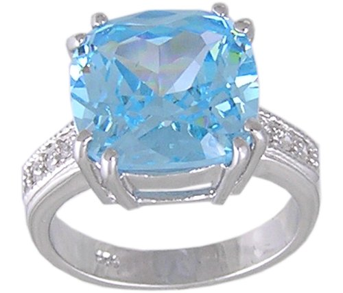 BLUE CUBIC ZIRCONIA CZ SILVER RING SIZE 5 9 or 10