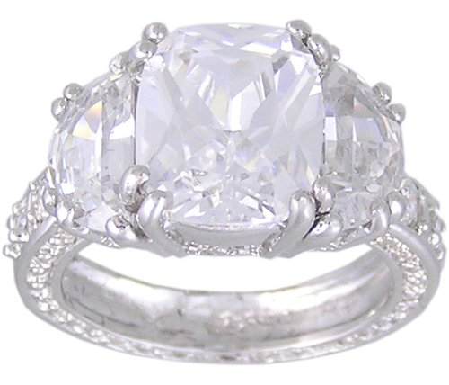 CUBIC ZIRCONIA CZ .925 STERLING SILVER RING SIZE 5 or 8