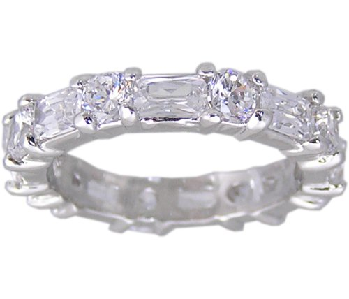 CLEAR CUBIC ZIRCONIA CZ ETERNITY RING SIZE 6 8 9 & 10