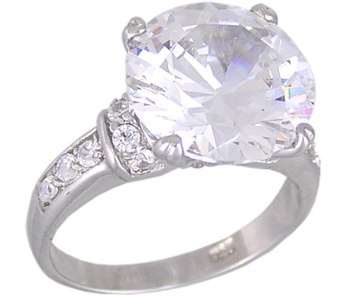 CLEAR CUBIC ZIRCONIA CZ 925 STERLING SILVER RING SIZE 8