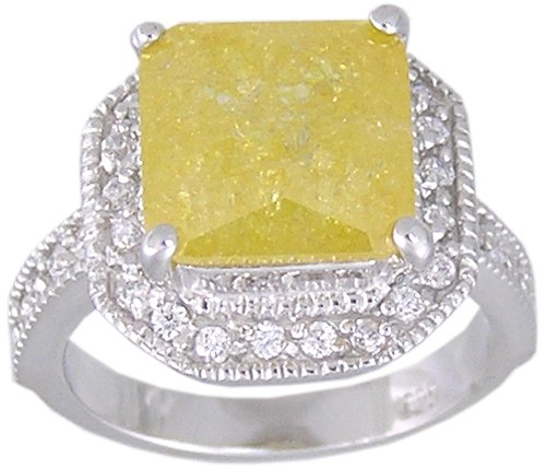 YELLOW CUBIC ZIRCONIA STERLING SILVER RING SIZE 9