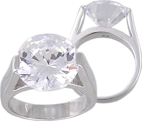 CLEAR CUBIC ZIRCONIA CZ SOLITAIRE RING SIZE 5 6 or 7