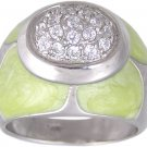 GREEN CUBIC ZIRCONIA STERLING SILVER RING SIZE 5 6 & 10