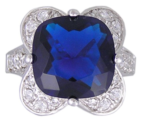 BLUE CUBIC ZIRCONIA STERLING SILVER RING SIZE 5 or 6