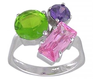 CUBIC ZIRCONIA STERLING SILVER RING SIZE 5 6 7 8 9 & 10