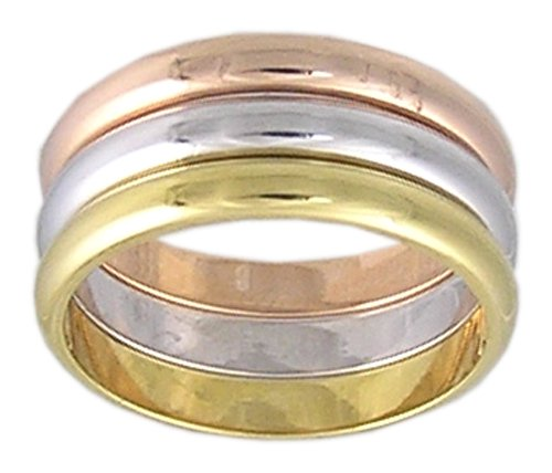 TRI-COLOR RHODIUM AND GOLD PLATED RING SIZE 5 6 8 9 or 10 JEWELRY