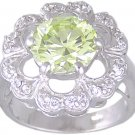 GREEN CUBIC ZIRCONIA CZ SILVER RING SIZE 5 6 7 or 9