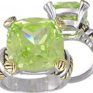 APPLE GREEN CUBIC ZIRCONIA CZ 2 TONE RING SIZE 9