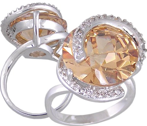 CHAMPAGNE CUBIC ZIRCONIA CZ COCKTAIL RING SIZE 5 7 & 10