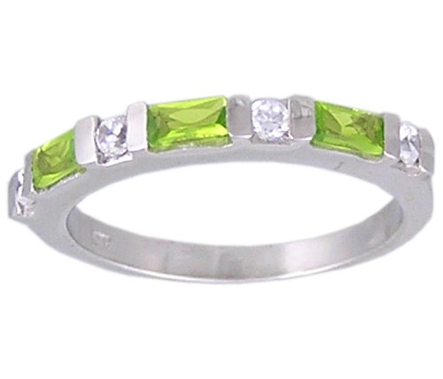 GREEN CUBIC ZIRCONIA CZ SILVER RING SIZE 5 6 7 8 9 & 10