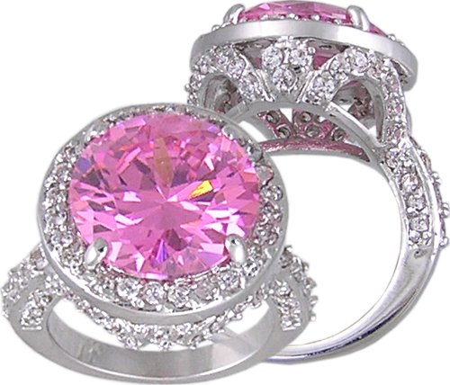 PINK CUBIC ZIRCONIA CZ FASHION RING SIZE 5 6 7 8 9 & 10