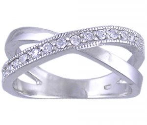 CLEAR CUBIC ZIRCONIA CZ SILVER RING SIZE 5 6 7 8 10