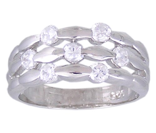 CLEAR CUBIC ZIRCONIA CZ 925 SILVER RING SIZE 5 6 7 8 9 10