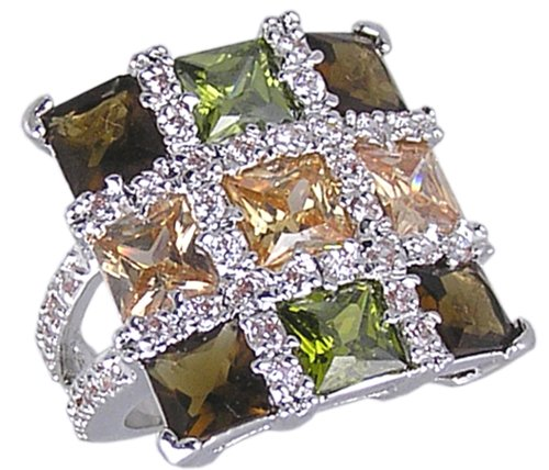 MULTI CUBIC ZIRCONIA CZ FASHION RING SIZE 5 or 7