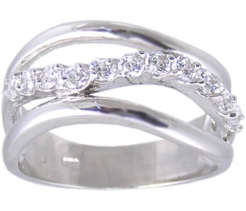 CLEAR CUBIC ZIRCONIA STERLING SILVER RING SIZE 5
