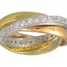 CUBIC ZIRCONIA TRI-COLOR ROLLING RING SIZE 5 6 7 8 9 10