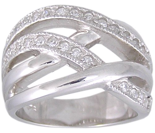 CUBIC ZIRCONIA CZ .925 SILVER RING SIZE 5 or 9