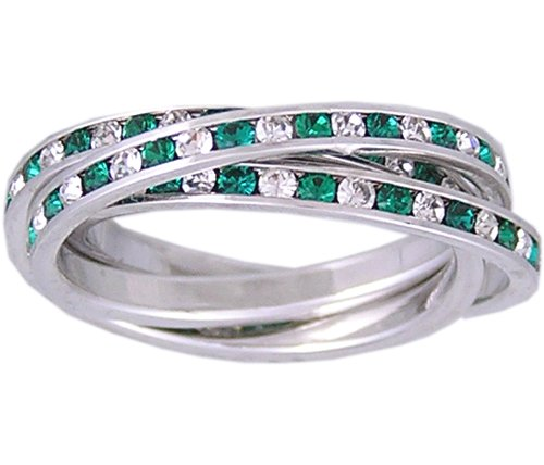GREEN CZ CUBIC ZIRCONIA ROLLING RING SIZE 5 6 7 9 or 10