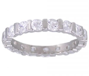 CLEAR CUBIC ZIRCONIA SILVER RING SIZE 5 6 7 8 9 or 10