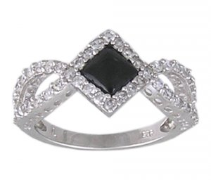 BLACK CUBIC ZIRCONIA CZ 925 SILVER RING SIZE 6 or 8
