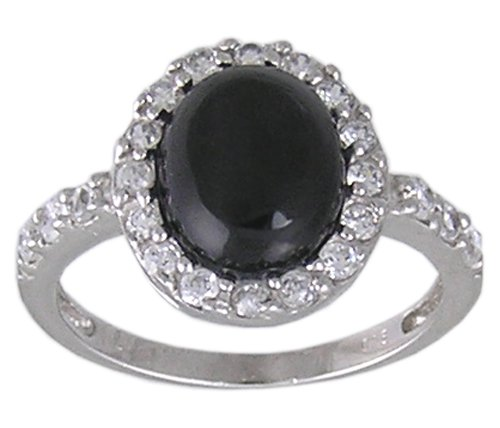 BLACK CUBIC ZIRCONIA CZ 925 SILVER RING SIZE 9