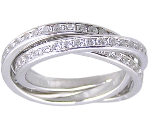 CUBIC ZIRCONIA CZ SILVER ROLLING RING SIZE 10