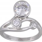 CUBIC ZIRCONIA 925 STERLING SILVER RING SIZE 8 or 9