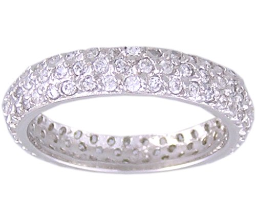 CZ CUBIC ZIRCONIA STERLING SILVER ETERNITY RING SIZE 7