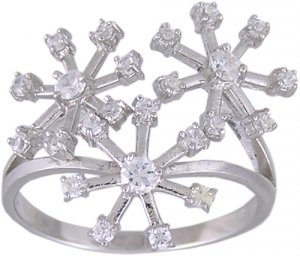 CUBIC ZIRCONIA CZ STERLING SILVER RING SIZE 6 or 8