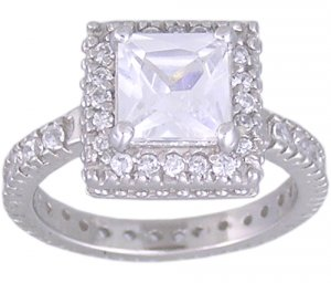 CLEAR CUBIC ZIRCONIA STERLING SILVER RING SIZE 5 7 or 9