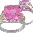 PINK CUBIC ZIRCONIA CZ SILVER RING SIZE 5 6 7 8 9 or 10