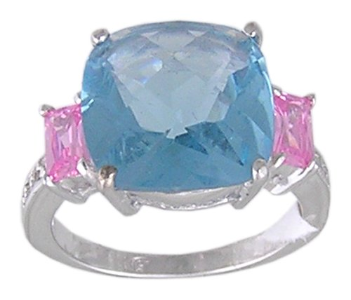 BLUE & PINK CUBIC ZIRCONIA SILVER RING SIZE 5 9 or 10