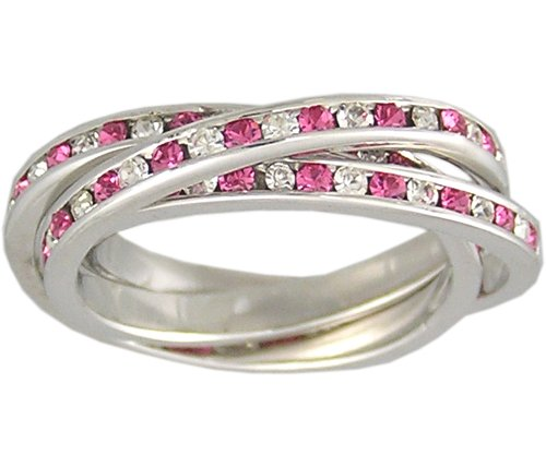 PINK CZ 925 SILVER ROLLING RING SIZE 5 6 7 8 9 or 10
