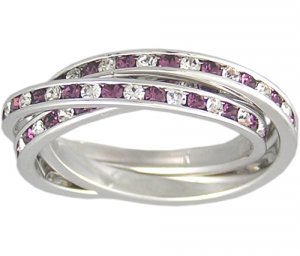 AMETHYST CUBIC ZIRCONIA ROLLING RING SIZE 5 6 or 9