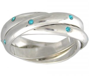BLUE CUBIC ZIRCONIA ROLLING RING SIZE 4 5 6 7 9 10 & 11