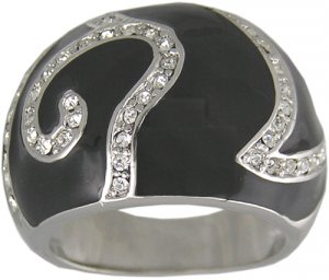 BLACK CUBIC ZIRCONIA CZ RING SIZE 7 8 or 9 JEWELRY