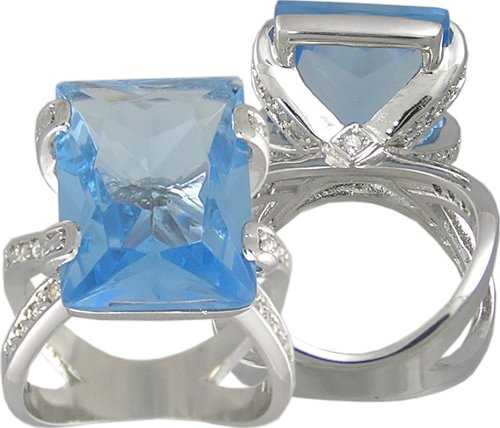 BLUE CUBIC ZIRCONIA CZ RING SIZE 5 6 or 10 JEWELRY