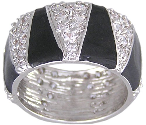 CUBIC ZIRCONIA CZ RING SIZE 8 BLACK JEWELRY