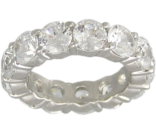 CUBIC ZIRCONIA CZ SILVER ETERNITY RING SIZE 9