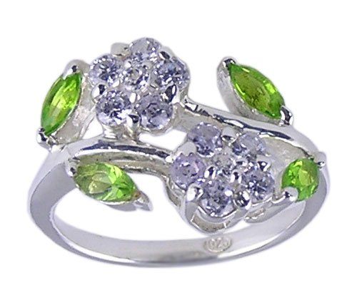 MULTI CUBIC ZIRCONIA CZ 925 SILVER RING SIZE 5 6 or 7