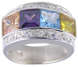MULTI CUBIC ZIRCONIA STERLING SILVER RING SIZE 5 or 6