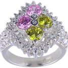 PINK YELLOW CUBIC ZIRCONIA SILVER RING SIZE 6 7 or 9