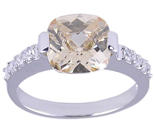 CHAMPAGNE CZ CUBIC ZIRCONIA SILVER RING SIZE 9 or 10