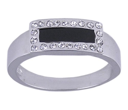 BLACK CUBIC ZIRCONIA CZ 925 SILVER RING SIZE 7 8 or 9