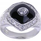 BLACK CUBIC ZIRCONIA CZ SILVER RING SIZE 5 or 7