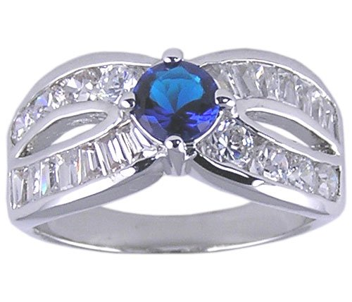 SAPPHIRE BLUE CLEAR CZ CUBIC ZIRCONIA RING SIZE 6 or 7