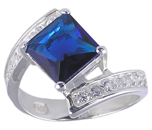 BLUE CUBIC ZIRCONIA CZ STERLING SILVER RING SIZE 8