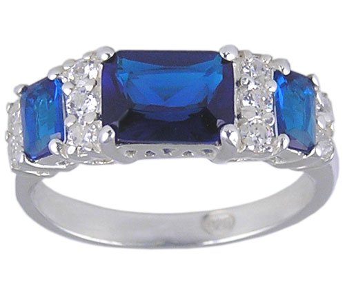 BLUE CUBIC ZIRCONIA STERLING SILVER RING SIZE 5 6 or 9